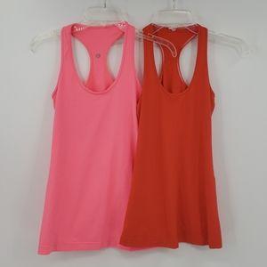 LULULEMON pink & orange workout tank tops